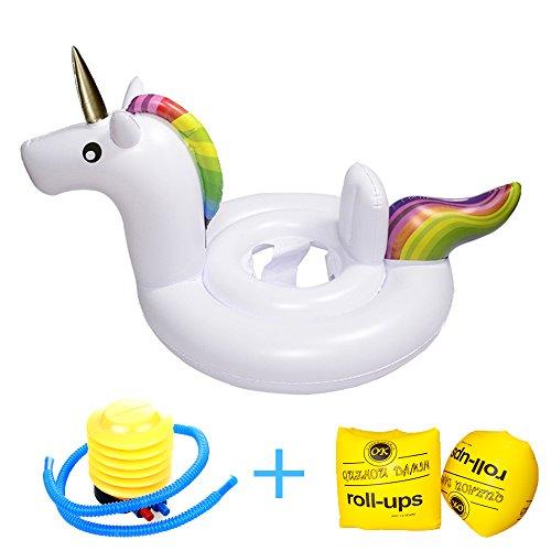 Rufun Asiento de Natación para bebé Anillo de Natación con Cuidado de la Piel de PVC para niños de 6 Meses a 3 Años (Unicornio blanco)