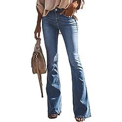 Suvimuga Mujer Vaqueros Acampanados Pantalones Largos Elástico Cintura Alta Retro Flared Jeans O M