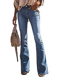 Suvimuga Mujer Vaqueros Acampanados Pantalones Largos Elástico Cintura Alta Retro Flared Jeans