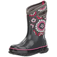 Bogs Kids Classic High Waterproof Insulated Rubber Neoprene Rain Snow Boot, Pansies Print/Dark Gray/Multi, 10 M US Toddler