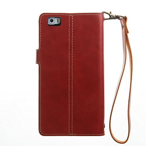 Hülle für Huawei P8 Lite, Tasche für Huawei P8 Lite, Case Cover für Huawei P8 Lite, ISAKEN Farbig Blank Muster Folio PU Leder Flip Cover Brieftasche Geldbörse Wallet Case Ledertasche Handyhülle Tasche Knopfe Linie Rot
