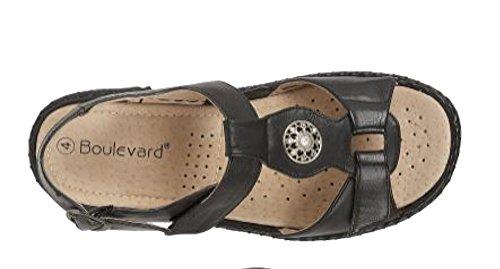 Sandali Da Donna Con Chiusura A Velcro Con Fodera In Pelle Nera - Noir
