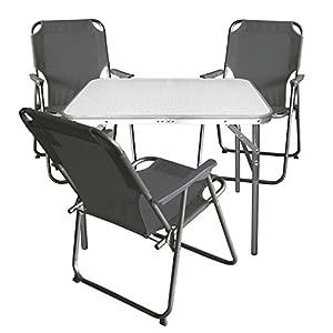 Multistore 2002 4tlg. Campingmöbel Set Klapptisch, Aluminium, 75x55cm + 3X Campingstuhl, Stone/Strandmöbel Campinggarnitur Gartenmöbel