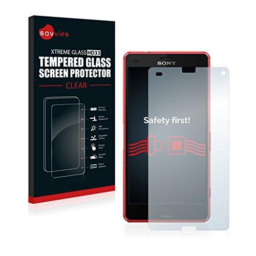 Savvies Vetro Temperato Compatibile con Sony Xperia Z3 Compact D5833 Pellicola Prottetiva - Durezza 9H