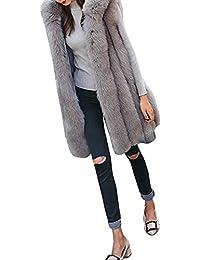 Italily - Moda Donne Pelliccia Ecologica Thicker Cappuccio Panciotto Gilet Giacca Outwear Cardigan Veste S-3XL