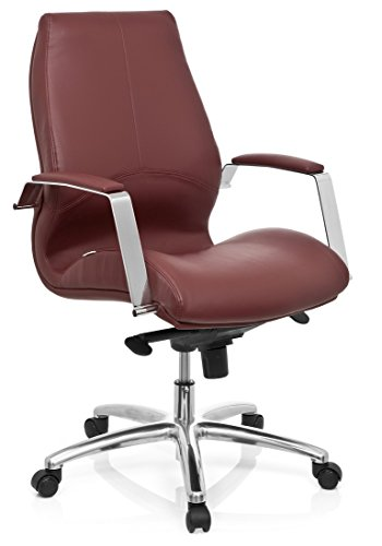 hjh OFFICE 720021 Profi Chefsessel TULA Kunstleder Weinrot moderner Bürostuhl mit Armlehnen, ergonomische Rückenlehne, gepolstert