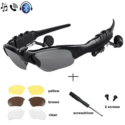 WinneG Wireless Music Sunglasses with Stereo Handsfree Bluetooth 4.1 Headset Headphone for All Smart Phones or PC Tablets with Bluetooth Function
