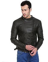 Derbenny Green Pu Leather Jacket For Men