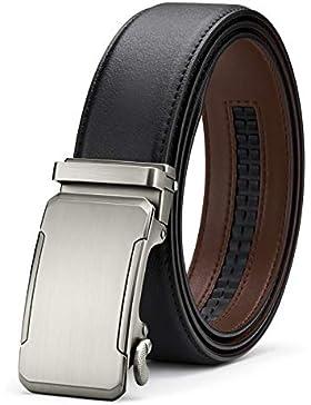 BESTKEE Cinturón Hombre Cuero - Cinturones Piel Ajustables para Hombres con Hebilla Automática
