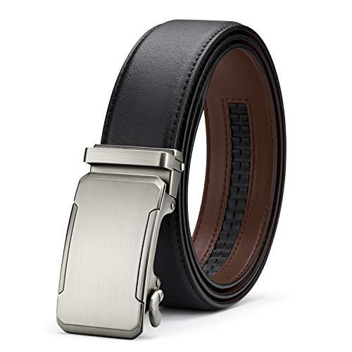 BESTKEE Cinturón Hombre Cuero - Cinturones Piel Ajustables para Hombres con Hebilla Automática (Negro 3, 140cm(cintura43-48'))