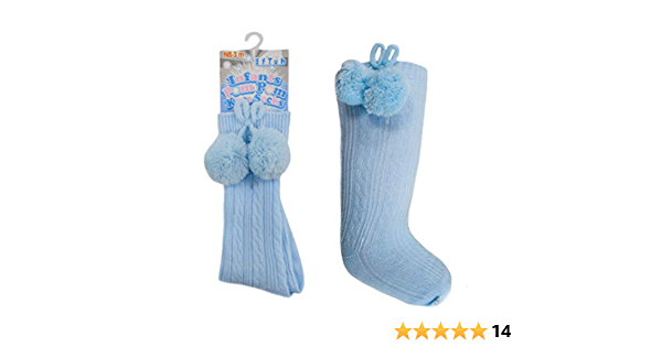 Baby Boys Girls 1 Pair Pom Pom Spanish Romany Style Knee-Length Stretch Socks In Multi Colours S47 6-12 Months, Sky Blue