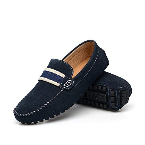 Minitoo Mocassin/chaussures bateau simples et décontractées à rayures En Denim et daim Bleu - bleu