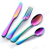 Buyer Star 4pcs Bunte Besteck Rainbow Edelstahl Besteckset Dinnerware Besteck-Set Geschirr Colorful Cutlery Set