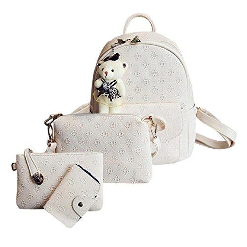 Moonuy,Frauen Wristlet Rucksäcke Mode Leder Nette Schultertasche Schulrucksäcke Cardbags Für Frauen Mädchen Brieftasche Für Weibliche Handtasche (Weiß)