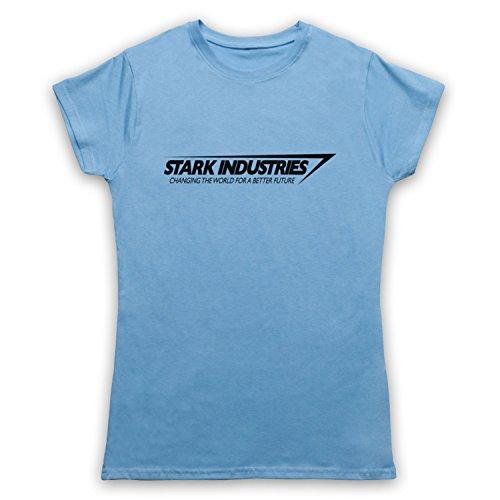 Inspired Apparel Inspiriert durch Iron Man Stark Industries Inoffiziell Damen T-Shirt, Hellblau, Small