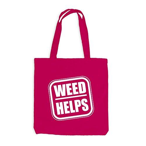 Jutebeutel - Weed Helps - Fun Spaßmotiv Therapie Spruch Pink