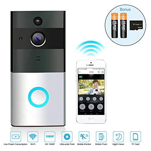 Campanello Wireless Videocitofono Senza Fili Impermeabile 720P HD Camera 166 Gradi Remoto Controllo Audio Bi-Direzione Visione Notturna con Carta 16G e Batteria Ricaricabile LED Indicatore - Argento