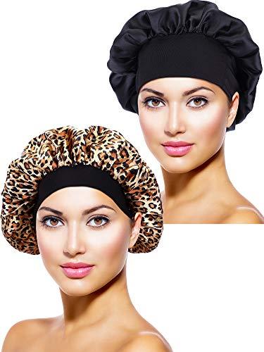 2 Stücke Satin Bonnet Nacht Schlaf Mütze Schlaf Kopf Abdeckung für Damen Mädchen Schlafen (Schwarz, Leoparden Gedruckt) Leopard Cover