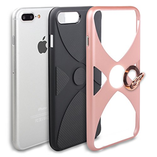 iPhone 6S Coque DWaybox Hybrid Heavy Duty Armor Hard Back Housse Coque avec 360 Degree Rotation Ring Holder Design pour Apple iPhone 6S / 6G 4.7 Inch (Silver) Rose Gold