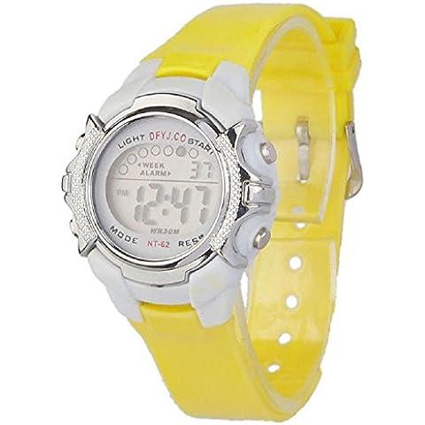 orologio da polso, FEITONG quarzo digitale led allarme data sport per bambini (Giallo) - Omega Cinturino In Gomma Blu