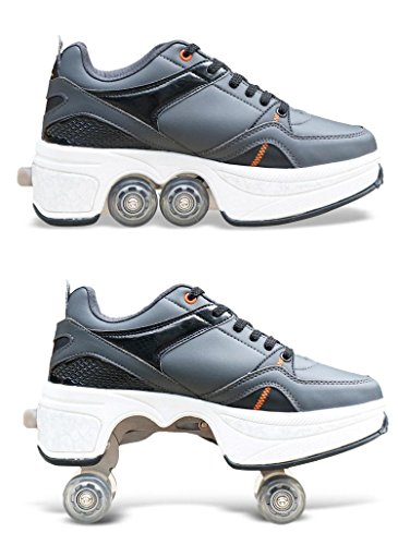 HDCM 2-in-1-Mehrzweckschuhe, Sportschuhe, Quad Skates, einstellbare Rollschuhe, EU39/UK6