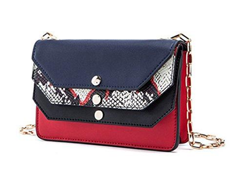 Donna Pelle Lotta A Colori Slot Multi-Card Singola Spalla Crossbody Bag. Blue