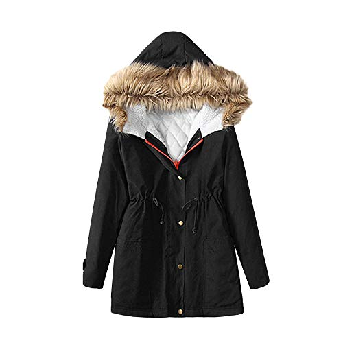 TianWlio Damen Mäntel Frauen Mode Winter Hooded Warme Mäntel Parkas mit Kunstpelz Jacken