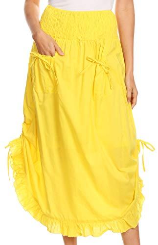 (Sakkas 3118 - Coco Long Cotton Ruffle Rock mit Taschen und elastischem Bund - Gelb - OS)