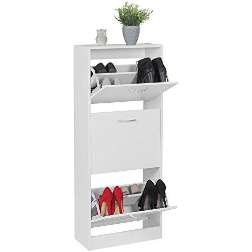 FineBuy Schuhkipper mit 3 Fächern für 18 Paar Schuhe | Moderner Schuhschrank in Weiß | Schuhkommode 50 x 24 x 125 cm