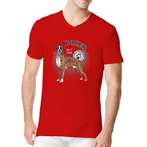 Im-Shirt - Hunde Motiv: Boxer Foto cooles Fun Men V-Neck - verschiedene Farben Rot