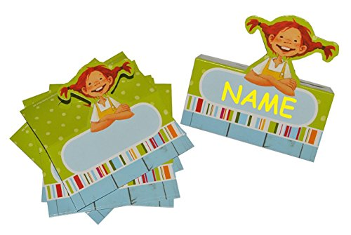 Preisvergleich Produktbild 8 tlg. Set Tischkarten Pippi Langstrumpf - Platzkarte Kinderparty Kindergeburtstag Fest Pferde Pippilotta Astrid Lindgren