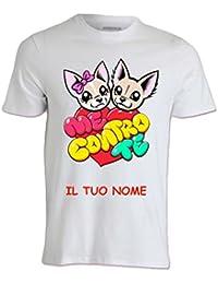 T-Shirt Maglietta Maglia Me Contro Te Cuore 100% Poliestere Lavabile in Lavatrice con Il Tuo Nome