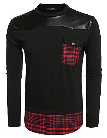 Coofandy Herren Langarm T-Shirt Rundhals Shirt Longshirt Langes Oversize Hemdeinsatz kariert Karohemd Hemd Sweat Sweatpullover Sweatshirt Tops Rot Schwarz XL