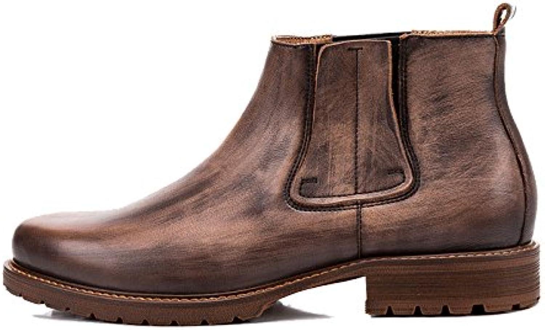 LYZGF Botas De Moda Casual para Hombre Botas De Cuero Vintage