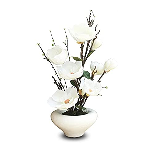 Kunstblumen Yiting Stellen Sie Topfpflanzen Blumenmotiv 68 cm * 30 cm, weiss