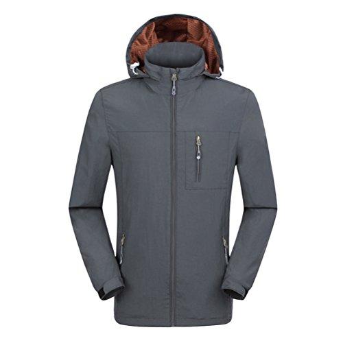 Zhhlaixing Unisex Windproof Waterproof Climbing Jackets All'aperto Mens Womens traspirante Sports Outwear Hooded Gray-Mens