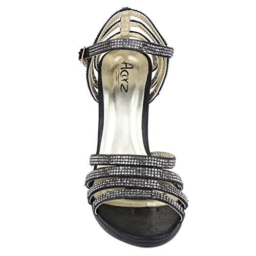 Aarz Femmes Mesdames Soirée de soirée de mariage Prom High Heel Sandal Diamante Bridal Chaussures Taille (Or, Argent, Noir, Champagne, Rouge) Noir