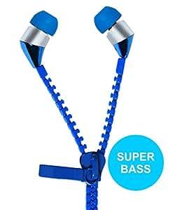 Jkobi New Designed Zipper Style Handsfree Earphones Compatible For Huawei Enjoy 5 -Blue