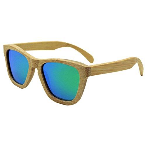 Juleya Retro Bambus Frame Polarisierte Sonnenbrille UV400 Damen Herren