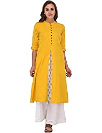 Pistaa Yellow Solid Printed Cut Kurta With Plus Size
