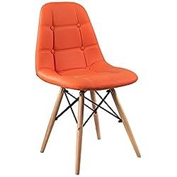 Crisnails® Sillas Eames Modernas Tapizadas, Para Comedor, Salon y Oficinas Multicolor (NaranjaTapizado, PatasMadera)
