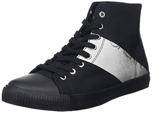 Calvin Klein Jeans Antani Nylon/Metal Film, Sneaker a Collo Alto Uomo, Nero (Black/Silver 000), 43 EU