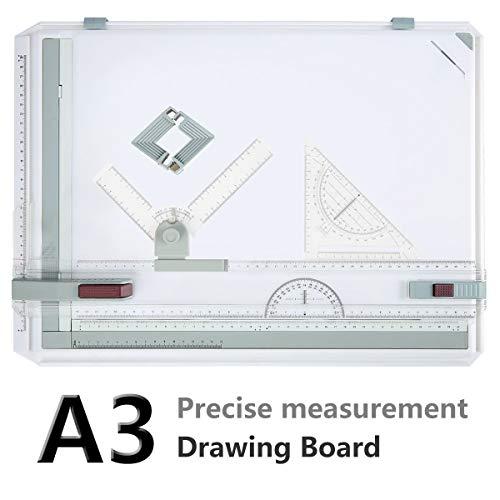 Bunao A3 Zeichenplatte, DIN A3 geo-Board zeichenplatte, hohe Qualität, Parallel-Zeichenschiene, nutführung mit Zubehör 49x35.5cm (Typ1)
