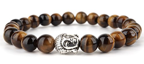 GOOD.designs Buddhismus Perlenarmband aus echten Natursteinen und edler Buddha-Kopf Perle, Chakra-Schmuck für Damen und Herren, Yoga-bracelet...