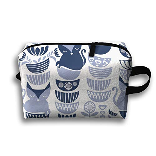 Makeup Cosmetic Bag Swedish Folk Cats White Background Navy U00Pale Blue Flowers Bowls U00Cute Kitties_6634 Medicine Bag Zip Travel Portable Storage Pouch for Mens Womens 10x4.9x6.3 Inch -