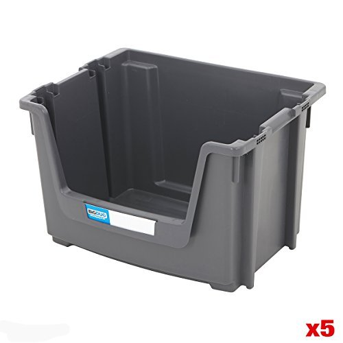 Large 50 Litre Open Stacking Storage Pick Bins Boxes Recycled - 4 Colours & Labels Available (Grey 50 Litre - Pack Of 5)