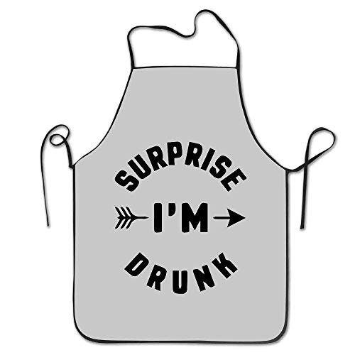 tsyhtshehs KITC Surprise I'm Drunk Funny Quote White Funny Unisex Barbecue Apron with Black Border