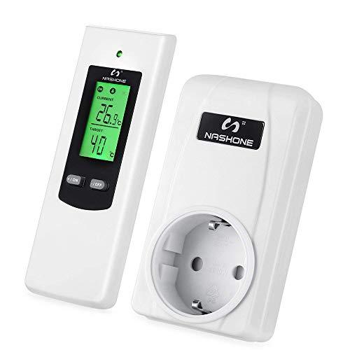 NASHONE Wireless Thermostat Steckdose Digitaler Temperaturregler mit Heizung- und Kühlmodus. Fernbedienung mit Memory-Funktion, eingebauter Temperatursensor, LCD-Display mit Hintergrundbeleuchtung