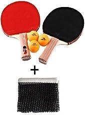 ARFA Combo of Table Tennis Net, 3 TT Ball & 2 Racket with Saftey Cover (Multicolour)