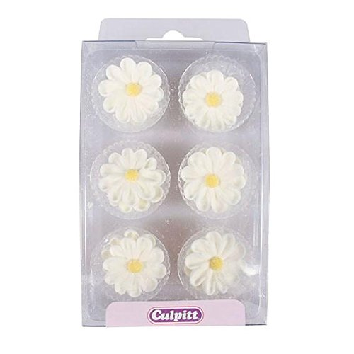 White Daisy Sugar Toppers - 12 Pack - Daisy Cake Pan